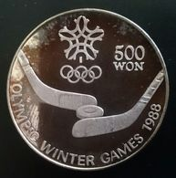 "NORTH KOREA 500 WON 1988 SILVER PROOF ""Winter Olympics""  Free Shipping Via Registered Air Mail - Corea Del Norte"