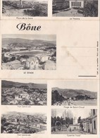 Carte Postale Multivues Vers 1940 BONE / STADE,PORT,CASERNE,PLACE,VUE GENERALE - Annaba (Bône)