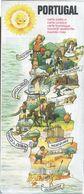 Tourist Card Of Portugal.Touristenkarte Von Portugal.Advertising TAP.Orbitur.Cars Nissan.Kleber.Insurance.Águas.3sc.1950 - Europe
