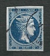 GRECIA 1872 - Testa Di Hermes - 20 L. Blu Profondo - Mi:GR 41 - 1861-86 Grande Hermes