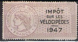IMPOT Sur Les VELOCIPEDES - 1947 - Fiscale Zegels