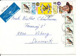 Kenya Cover Sent To Denmark Topic Stamps Birds And Scouting - Kenia (1963-...)
