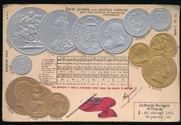 CARTE POSTALE AVEC PAVILLON NATIONAL  - LA GRANDE BRETAGNE ET L'IRLANDE  -,  RELIEF  GAUFREE - Monnaies (représentations)