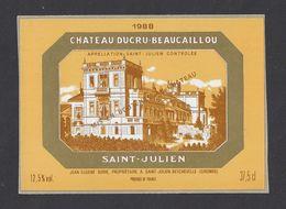 Etiquette De Vin  Saint Julien 1988  - Grand Cru Classé - Chateau Ducru Beaucaillou - J.E. Borie  à Saint Julien (33) - Bordeaux