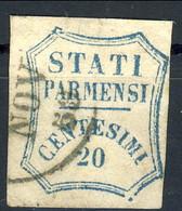 Parma 1859 Gov Provv. SA N. 15a C. 20 Azzurro Vivo Usato Cat. € 600 Firmato A. Diena - Parma
