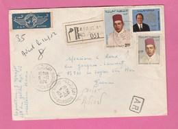 LETTRE RECOMMANDEE AVEC A.R. PAR AVION DU MAROC POUR LA FRANCE OBLITERATION CASABLANCA-BOURGOGNE DE 1974 - Morocco (1956-...)