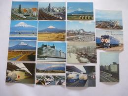 JAPON : CHEMIN De FER - Lot De 16 CPM Vers 1970, 1980 - Détails Voir Les Scans - Trains