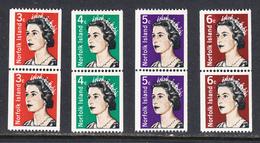 Norfolk Island 1968-71, Mint No Hinge, Coil Pairs, Sc# 115-118,118A, SG 93-95,95a - Norfolk Island