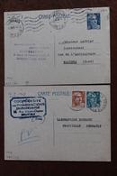 MARIANNE  DE  MARIANNE  DE  GANDON               2   ENTIERS  POSTAUX  5 FRANCS  BLEU  ET  8  FRANCS  TURQUOISE - Postal Stamped Stationery