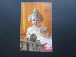 AK Künstlerkarte 1922 Kind / Mädchen / Puppe? Michel Nr. 151 EF. Rossleben - Portraits