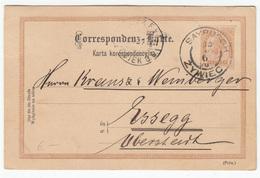 Austria - Poland, Postal Stationery Postcard Postkarte Karta Korespondencyjna Travelled 189? Saybusch (Żywiec) To Osijek - Ganzsachen