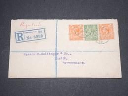 GRANDE BRETAGNE - Enveloppe En Recommandé De Londres Pour La Suisse En 1920 - L 13101 - 1902-1951 (Rois)