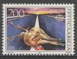 Jugoslavija Yugoslavia 1986 Mi 2157 YT 2034 ** Injured Deer On Road / Angefahrener Hirsch Auf Autostraße - Europa Cept - Transportmiddelen