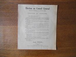 CANTON DE VERVINS ELECTION AU CONSEIL GENERAL SCRUTIN DE BALLOTAGE DU 27 MARS 1949 TRACT D'A. SEMAL - Historische Dokumente