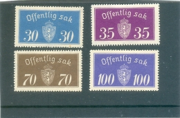 1933 - 37 NORVEGE Y & T N° 16A - 17B - 20A - 21A ( * ) Les 4 Timbres - Service