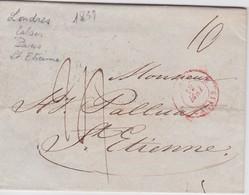 ANGLETERRE 1839 LETTRE DE LONDRES POUR ST.ETIENNE CACHET ENTREE ANGLETERRE PAR CALAIS - Grossbritannien