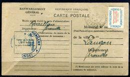 # - FRANCE - Timbre De Service - Y&T 15A Sur Carte De Ravitaillement - Lettres & Documents