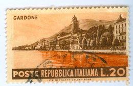 ITALIA, ITALY, REPUBBLICA, SERIE TURISTICA, LANDSCAPOES, GARDONE, 1953,USATO, 25 L. .    Sass. 729   Scott 643 - 6. 1946-.. Repubblica