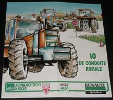 """Ancien Certificat """"10 De Conduite Rurale"""" 1986, Pubs Renault Agriculture Mobil Agri CRS Police, Tracteur LEP Beaune La R - Diplômes & Bulletins Scolaires"""