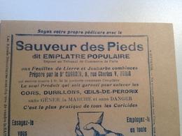 Sauveur Des Pieds,  Dit Emplâtre Populaire,feuillet Publicitaire, Vers 1910 - Pubblicitari