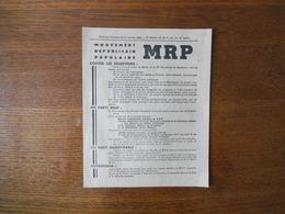 ELECTIONS GENERALES DU 21 OCTOBRE 1945 1er SECTEUR MOUVEMENT REPUBLICAIN POPULAIRE CANDIDATS FRANCISQ GAY ET JEAN CAYEUX - Historische Dokumente