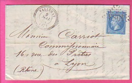 LETTRE VALLENAY 17 CACHET A DATE TYPE 22 + G.C. 4083 SUR 22 - 1865  AU DOS CACHET BOURGES 9 MAI 65 - Postmark Collection (Covers)