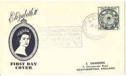 Australian Antarctic FDC 16-2-1955 Mawson Sent To England - Ersttagsbelege (FDC)