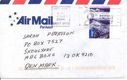 Australian Air Mail Cover Sent To Denmark Adelaide 21-11-2014 Single Franked - Poste Aérienne