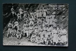 CARTE PHOTO MILITARIA MILITAIRE PREMIERE SORTIE DE LA 35 - Personnages