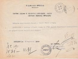 WW2 - 11 Sept 1939 - Télégramme Officiel - à Propos Des évacués De L'Est Gagnant Le Dépt De L'Allier - Documents Historiques