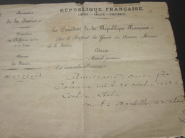 1893 Manuscrit Certificat Acte Naturalisation Signé Carnot Président République-Garde Des Sceaux Ministre Justice Guérin - Historical Documents