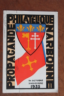 1935     NARBONNE     -       PROPAGANDE  PHILATELIQUE    POUR  LA  FOIRE  ET  FETE  DU  VIN - Marcophilie (Lettres)
