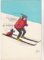 TETSU  Ed Pulcinella - Humour  Ski Chien - CPSM  10.5x15 BE 1961 Flamme Chamonix Championnat Monde Ski 1962 - Autres Illustrateurs