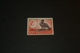 K14388- Stamp MNH Swaziland 1968- Overpinted Independence 1968- Ground Hornbill - Oiseaux