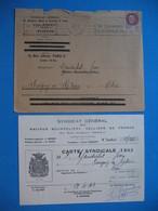 Carte Syndicale Des Maîtres Bourreliers  Selliers De France  Mr. Gandichet 1943 Lettre Et Enveloppe - Cartes