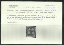 FEZZAN LIBYA 1943 PITTORICA DI LIBIA SOPRASTAMPATO SURCHARGED SURCHERGE O,50f SU CENT. 5c MNH CERTIFICATO - Fezzan & Ghadames