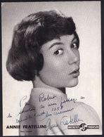 """"""" ANNA FRATELLINI """" 1958  - Grande Photo Dédicacée Dédicace Signature Autographe - Artiste - Cinéma Musique Chanson RARE - Artistes"""