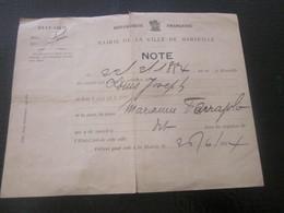 1924 Extrait Note Acte De Naissance En 1884 Ferajolo Registre état Civil Manuscrit Mairie De Marseille BDR - Historical Documents