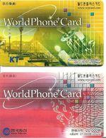 2-CARTES -PREPAYEE-COREE-WORLDPHONE CARD-10000/20000-TBE - Korea, South