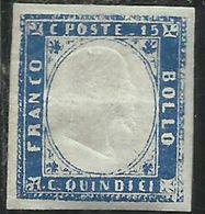 ITALIA REGNO ITALY KINGDOM 1863 EFFIGIE RE VITTORIO EMANUELE 15c AZZURRO MH FIRMATO SIGNED - 1861-78 Vittorio Emanuele II