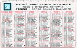 CALENDARIO TASCABILE - SAI - Anno 1968 - Calendars