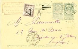 130/26 - Entier Armoiries 5 C + Découpure Idem BRUXELLES 1897 Vers PARIS - Non Accepté Et Taxé Timbre-Taxe 10 C - Stamped Stationery