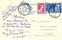 131/26 - Entier Sceau Etat + TP Col Ouvert Envoyé En France Comme REPONSE  - Posté à COMPIEGNE 1952 Vers LA LOUVIERE - Stamped Stationery
