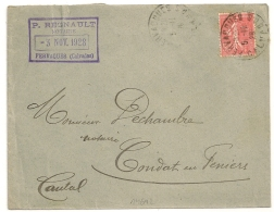 FERVAQUES  Calvados. P. REGNAULT Notaire. 1928. - Marcophilie (Lettres)