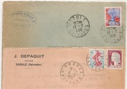 DOZULE  Calvados 2 Cachets Différents Sur 2 ENVELOPPES. - Marcophilie (Lettres)