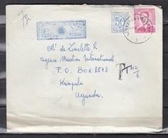 Luchtpost Brief Van Ixelles-Elsene F1F Naar Kampala Uganda - 1953-1972 Lunettes
