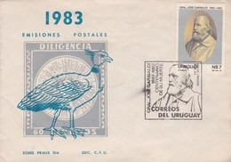 FDC-ENVELOPPE SOBRE DILIGENCIA. GRAL JOSE GARIBALDI CINCUENTENARIO MUERTE. 1983-TBE-BLEUP - Uruguay