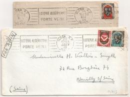 ALGER  Algérie. 2 Mécaniques. 1949. LOTERIE ALGERIENNE PORTE VEINE. - Algérie (1924-1962)