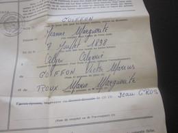 Mairie De Marseille Fiche Individuelle état Civil Marguerite  Née 1898 à Alger Algérie - Historical Documents