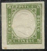 ANTICHI STATI: 1861 SARDEGNA EFFIGIE RE VITTORIO EMANUELE II CENT. 5c VERDE OLIVA MH FIRMATO SIGNED - Sardaigne